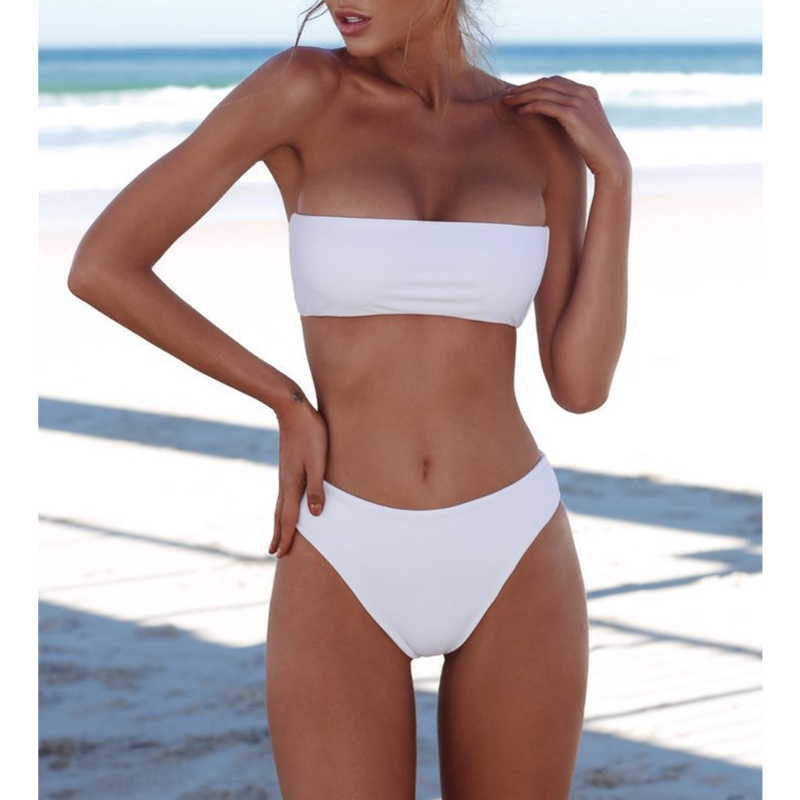 Sexy Women Bikini Set Strapless Bandeau Push-up Bra Swimsuit Swimwear Bathing  swim 3