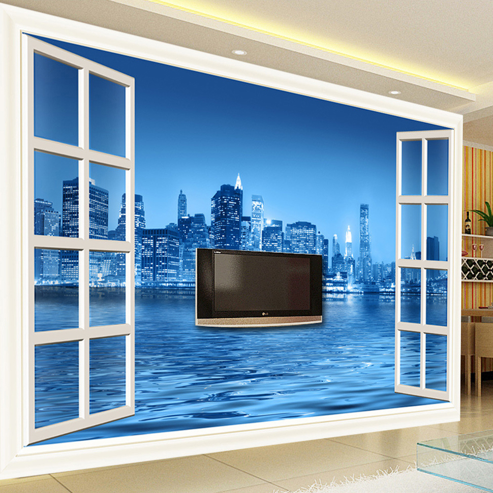 popular wall mural space buy cheap wall mural space lots from custom 3d photo wall paper window city night 3d stereoscopic space tv backdrop decorative pictures modern
