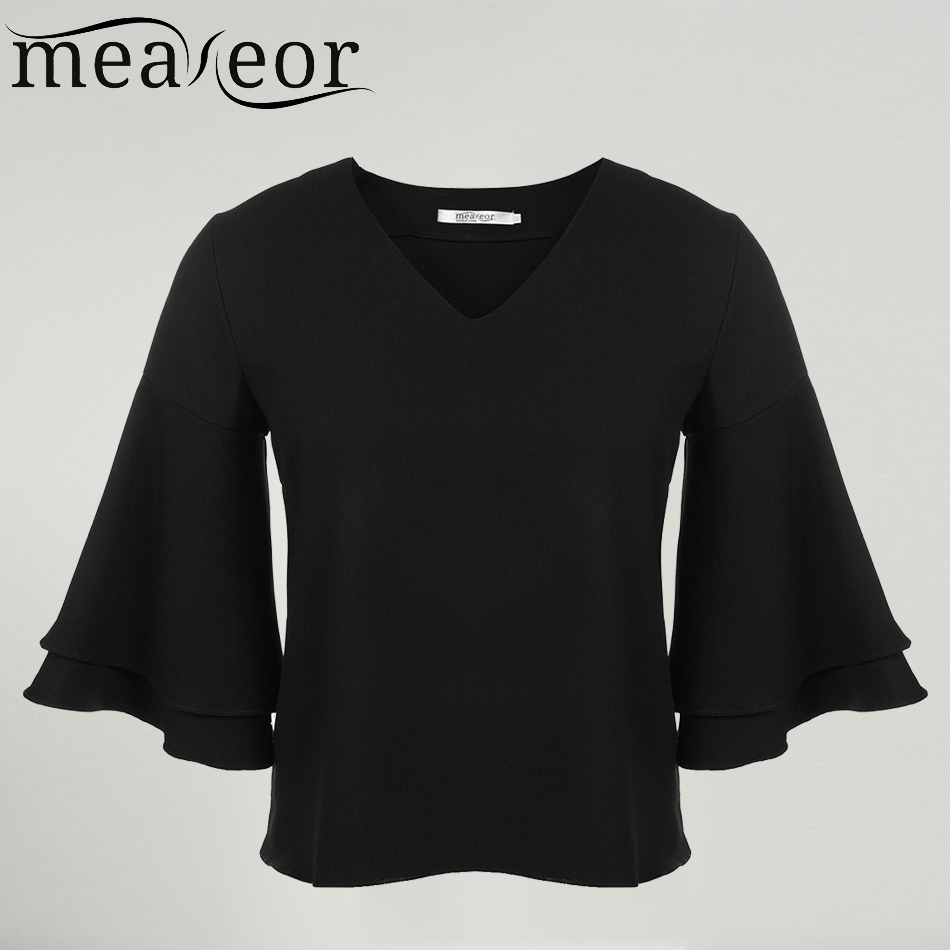 Black t shirt v shape - Meaneor Women T Shirt Spring Autumn Casual Bell Shaped Sleeve V Neck Solid Loose Oversize Chiffon Feminino Tshirt Tee Tops