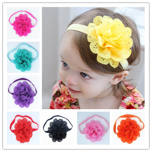 Newborn Chiffon Flower Hair Band Kids Elastic Ring Hair Accessories Photography Flower Headband Hair Accessories girls Headwear bebe girls flower headband four felt rose flowers head band elastic hairbands rainbow headwear hair accessories