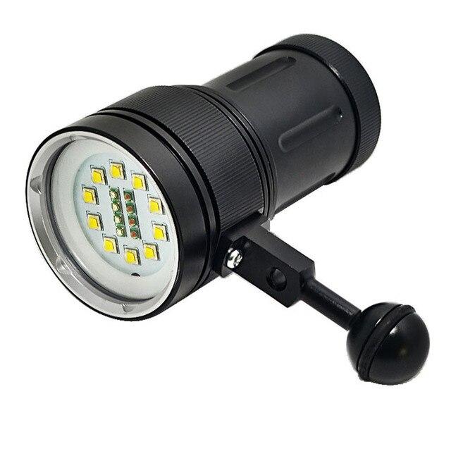 Buceo luz bajo el agua 100 M 10X XML2 + 4 xRed + 4 xBlue LED Video linterna de buceo lámpara