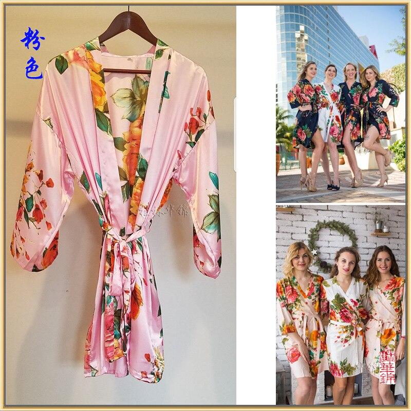Frauen silk satin floral robe brautjungfer roben Hochzeit braut ...