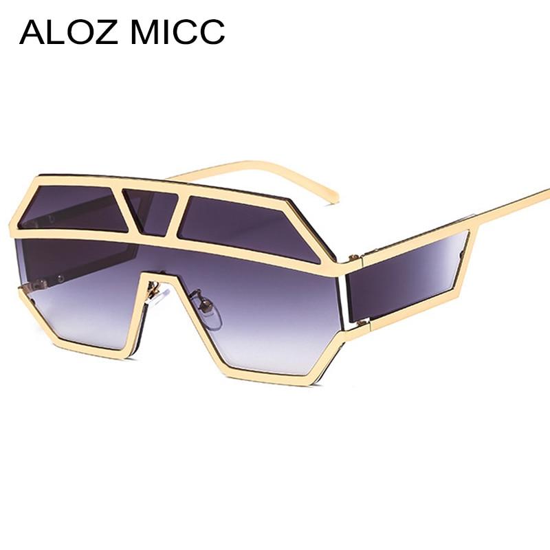 ALOZ MICC Neue Einem Stück Linse Sonnenbrille Frauen Übergroßen Quadratischen Sonnenbrille 2019 Marke Designer Männer Sonnenbrille Shades UV400 q402