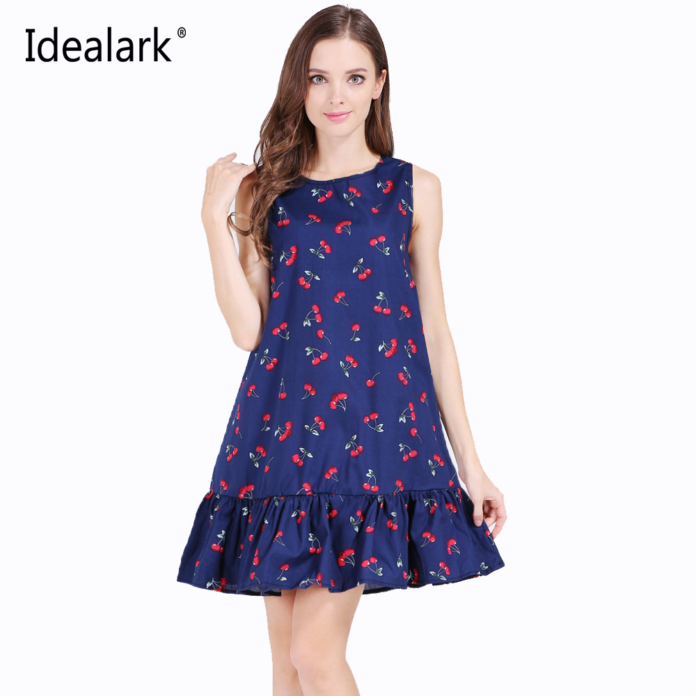Idealark 100% cotton Sleeveless Sexy Ruffles Women Dress ...