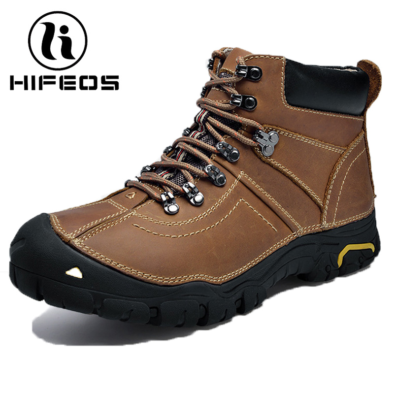 HIFEOS hiking shoes men's winter plus velvet anti-slip trekking tourism sneaker outdoor waterproof boots climbing tactical boots hifeos men winter outdoor hiking shoes couple anti slip breathable boots mesh couple climbing mountaineer low top sneakers m067