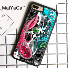 MaiYaCa Koi carp fish japanese skull floral Printed Cover For iPhone 8plus Luxury Housings