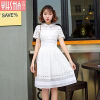 2017 New Summer Dress And A White Lace Dress In Long Waisted Cotton Dress A