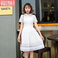 2017 novo vestido de verão e um vestido de renda branca em algodão vestido longo de cintura um