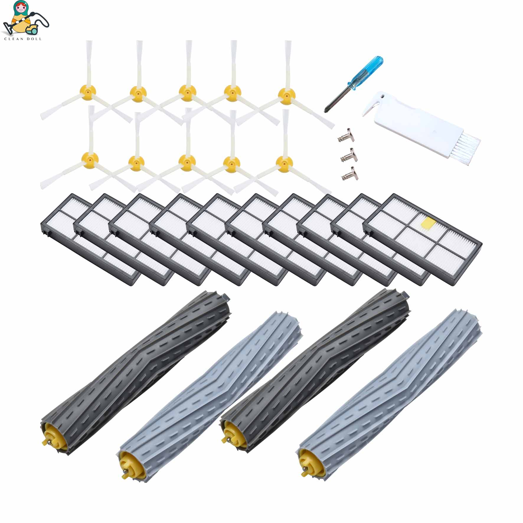 CLEAN DOLL 24-Pack side brushes Roller brush HEPA filter for iRobot Roomba 980 960 800 860 880 for i robot roomba accessories diffuseur arrière carbone bmw x4 f26