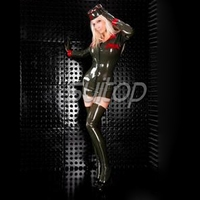 army woman rubber uniform militery latex dress COSTUMES SUITOP with caps