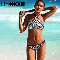 Sexy High Neck Bikinis Set 2017 New Design Summer Geometry Printed Beach Swimwear Women Sports Swimsuit