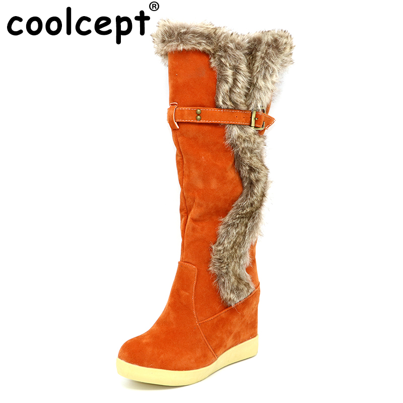 Coolcept fur warm knee high boots women lady fashion snow russia winter footwear wedge shoes warm half boot P7879 size 34-39 new fashion style snow boots winter fashion black brown warm fur women casual shoes on sale size 34 39