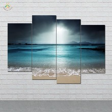 5 Pieces/set Blue Beach Wall Art Paintings Picture Print on Canvas for Home Decoration Living Room