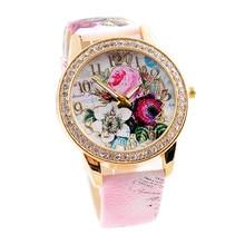 2016 Fashion Luxury Watch Flower Mission Colored Diamond PU Leather Women Watches Quartz Watch Wholesale Free Shipping