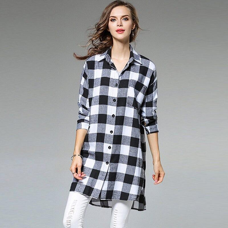 261275bc99 Mulheres treliça em Preto e branco Camisa Xadrez Feminino Completa Tops  Inverno Camisa Xadrez Longo Dianteiro curto longo atrás em Blusas e camisas  de ...