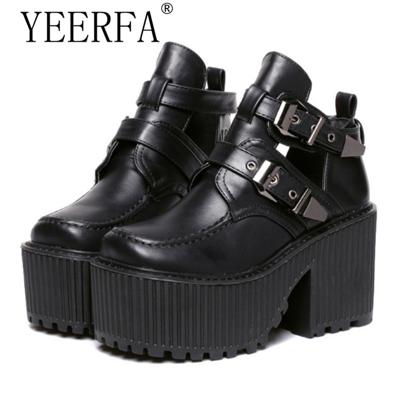 YEERFA Women chunky block high heel platform wedge heel shoes harajuku gothic cut out ankle boots Femininas creepers biker shoes nayiduyun women genuine leather wedge high heel pumps platform creepers round toe slip on casual shoes boots wedge sneakers