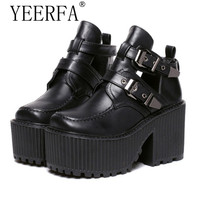YEERFA Women chunky block high heel platform wedge heel shoes harajuku gothic cut out ankle boots Femininas creepers biker shoes