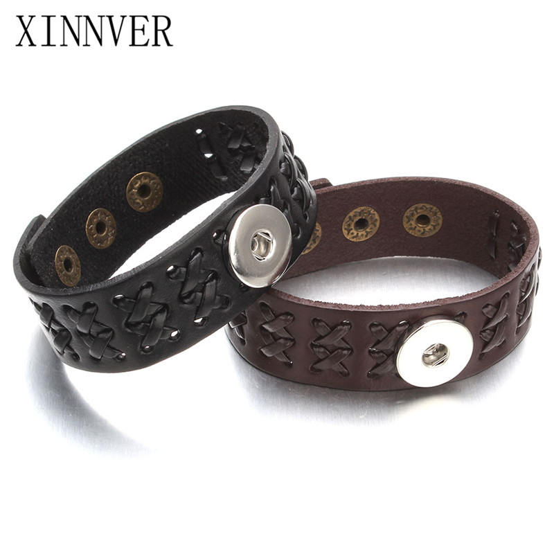 Black Brown Color Snap Bracelet Weave Real Leather Bracelets Fit 18mm Snap Button Bangles Punk Style For Xinnver Snap Jewelry