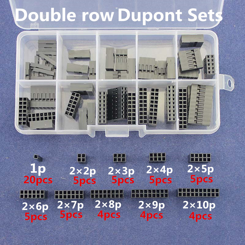 Double row Dupont Kit 1P/2*2/2*3/2*4/ 2*5/2*6/2*7/2*8/ 2*9/ 2*10Pin Housing Plastic Shell Terminal Jumper Wire Connector set 50pcs lot 6 pin 2x3 pin 2 54mm double row plastic dupont head jumper wire cable housing female pin connector