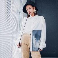 Asymmetry Blouse 2019 Autumn Europe New Women Vintage Abstract Print Shirt Fashion Wild Loose Temperament Chiffon Shirt CK967