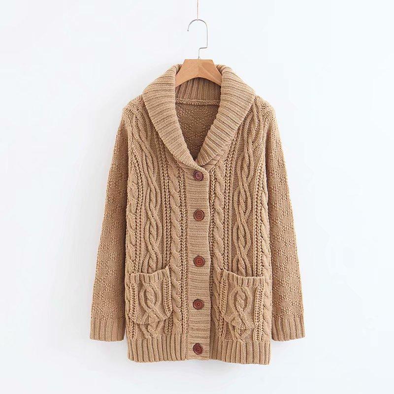 Mode frauen XZ45-1755 Europäischen stil mode strickjacke tasche high neck pullover