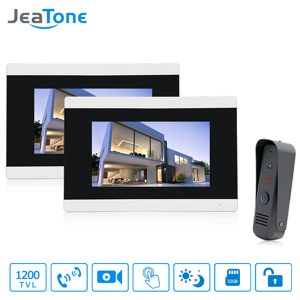 Jeatone 7 Touch-Screen Video Door Phone Doorbell Intercom IR Camera LCD Monitor Unlocking Electronic Lock System Video recordJeatone 7 Touch-Screen Video Door Phone Doorbell Intercom IR Camera LCD Monitor Unlocking Electronic Lock System Video record
