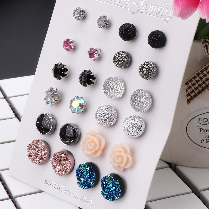12 Pairs Assorted Crystals Druzy Stone Resin Stone Round Stud Earrings Set Women