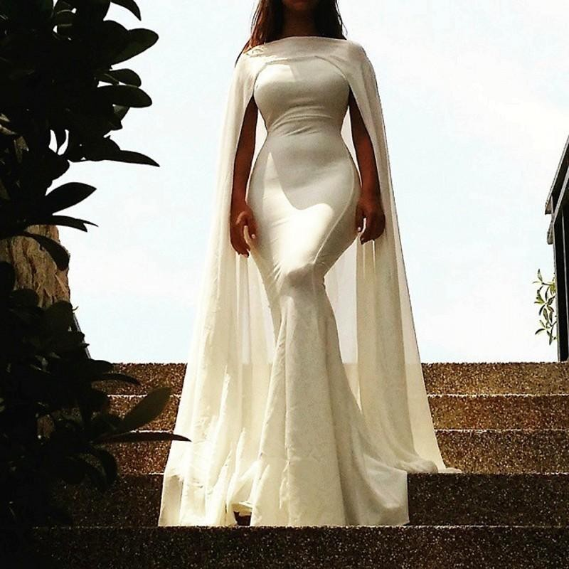 Simple And Elegant White Satin Sweetheart With Jacket: Saudi Arabia White Evening Dresses Long Mermaid Satin With