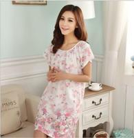 Plus Size Nightgowns For Women 2021 Summer Dressing Gowns Girls Nightshirts Nightdress Cotton And Silk Sleepshirt L-XXL E1082 2