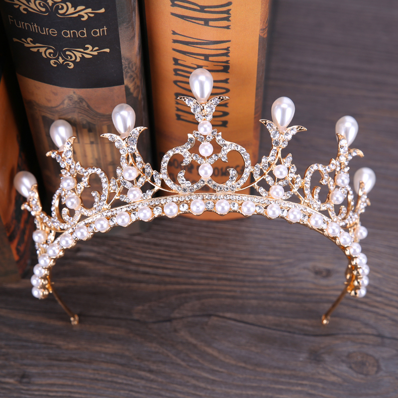 Noble Queen Crown Hairwear Silver Rhinestone Pearl Crowns Tiaras Headband Bride Wedding Hair Jewelry Headdress