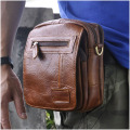 Hot Sale Top Quality Genuine Real Leather Cowhide men vintage Messenger Bag Pouch Waist Pack Bag B209