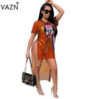VAZN 2018 Modo di Stile della Fasciatura Donne Sexy Vede Attraverso Il Breve Vestito Solido O-Collo Mini Vestito Ladies Night Partito Abiti A7561L
