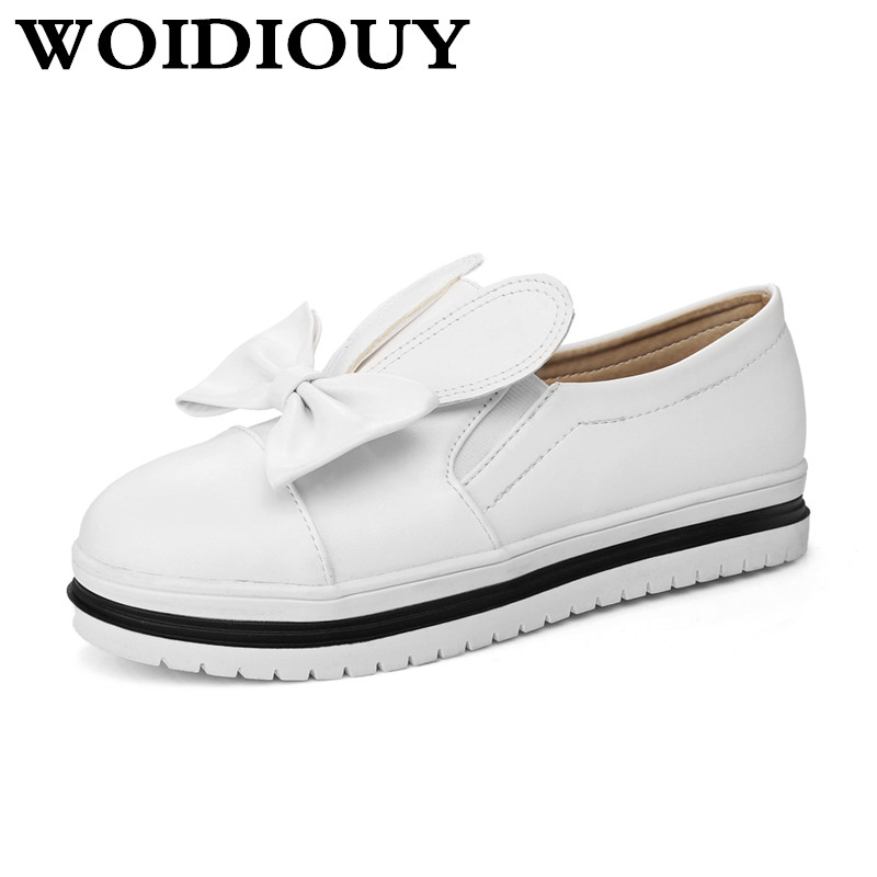 New Flat Shoes Women Shallow Cute Slip On Ear Decor Loafers PU Butterfly Knot Mary Jane Womens Zapatos Mujer Ballet Flat Shoes vintage cute women s mary jane flat loafers shoes woman moccasins ballet flats for women zapatos mujer big size 34 43