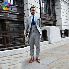 Новейший дизайн деловые серые мужские костюмы свадебные смокинг
