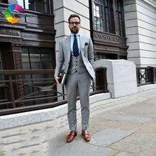 Latest Designs Business Grey Men Suits Mens Wedding Groom Tuxedo Slim Fit Prom Wear Man Blazer 3Piece Jacket Pants Vest