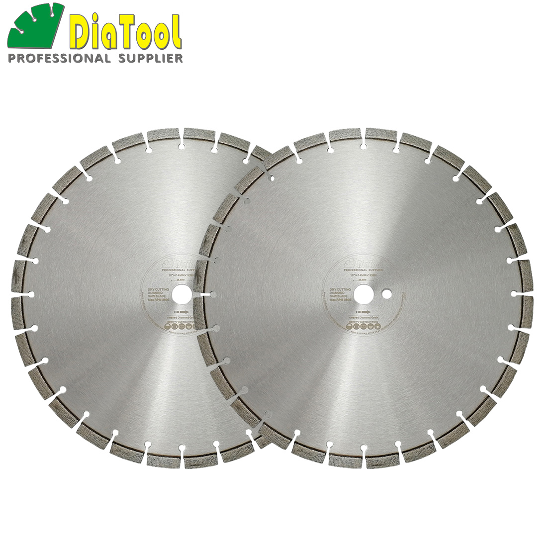DIATOOL 2pcs/pk 16inch Professional Laser Welded Arrayed Diamond Saw Blade 414mm Cutting Disc for reinforced concrete цены онлайн