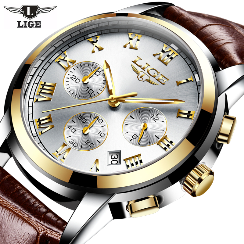 LIGE 2017 new men's watches Male quartz watch men real three dial luminous waterproof 30M outdoor sports Leather watch Man Clock lige 2017 new men s watches male quartz watch men real three dial luminous waterproof 30m outdoor sports leather watch man clock