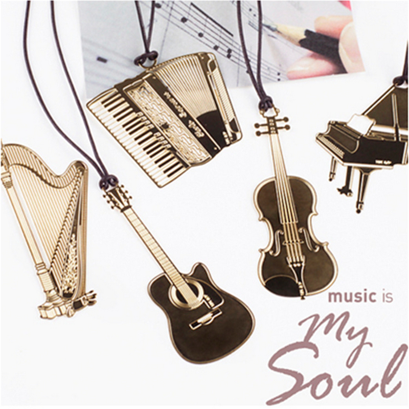 1 Pc Cute Metal Bookmark Fashion Musial Piano Guitar Bookmark For Book Creative Gift Korean Stationery Gifts