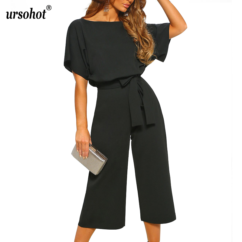 Summer Vintage   Jumpsuit   Women Casual Waistband Bat Sleeve Party Sexy Wide Leg Rompers Woman Playsuit With Belt Straight Bodysuit