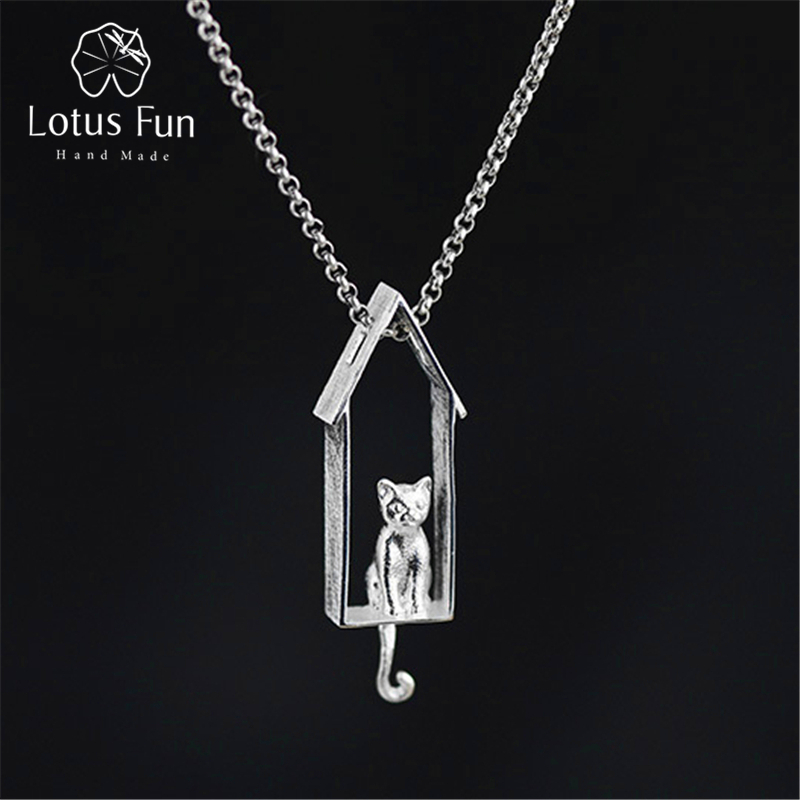 Lotus Fun Real 925 Sterling Silver Designer Handmade Fine Jewelry Gazing Cat Pendant without Necklace Acessorios for Women-in Pendants from Jewelry & Accessories on AliExpress - 11.11_Double 11_Singles' Day 1
