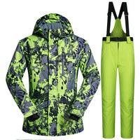 Men Ski Suit Brands Windproof Waterproof Warmth Clothing Ski Jacket and Pants Men Snow Set Winter Skiing and Snowboarding Suits