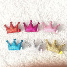2018Fashion 2Pcs Hair Clips Girls Birthday Party Sequins Princess Crown Leather Hair Style Buckle Pinza De Pelo De Corona Hot(China)