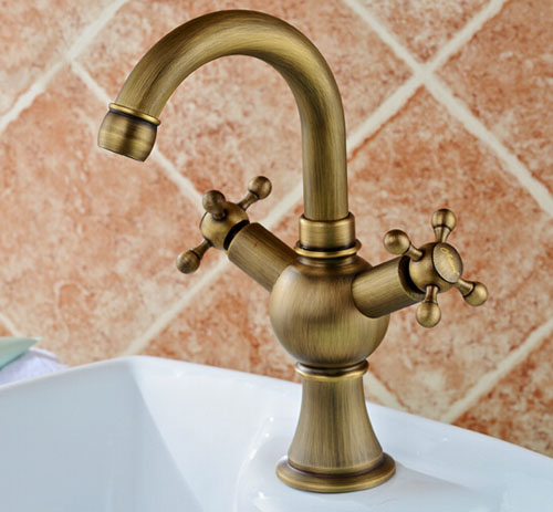 Widespread Bathroom Double Levers Brass Antique Basin Tap Deck Mounted One Hole Mixer Tap