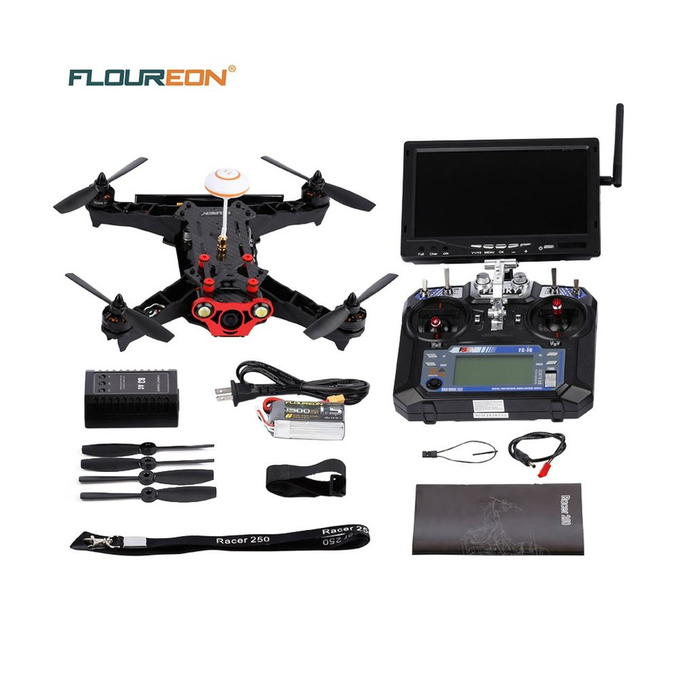 Carbon Fiber Floureon Racer 250 6CH FPV Racing Quadcopter 1000TVL Camera with 6 Axis Gyro / FLYSKY FS - i6 Transmitter Newest diy fpv drone racer 250 arf racing quadrocopter raptor s tower f3 fc built in 5 8g transmitter osd flysky fs i6 with hd camera