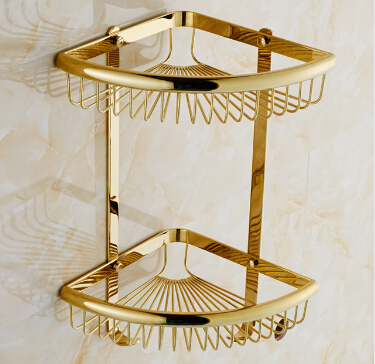 New Arrival Gold bathroom Corner Shelf Soap Holder Dual Tier bathroom shelves bathroom shampoo holder basket bathroom holder black bathroom shelves stainless steel 2 tier square shelf shower caddy storage shampoo basket kitchen corner shampoo holder