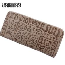 Female luxury leather wallet women long real leather wallet purse fashion vintage hieroglyphic embossing woman wallet