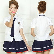 S-XL School Uniforms Sailor Uniforms Short-Sleeved T-shirt +Skirt Piece Fitted Sexy Girls Plus Size Japanese Cosplay Anime Wear