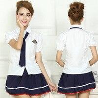 S-XL Schooluniformen Sailor Uniformen Korte Mouwen T-shirt + Rok Stuk Voorzien Sexy Meisjes Plus Size Japanse Cosplay Anime dragen