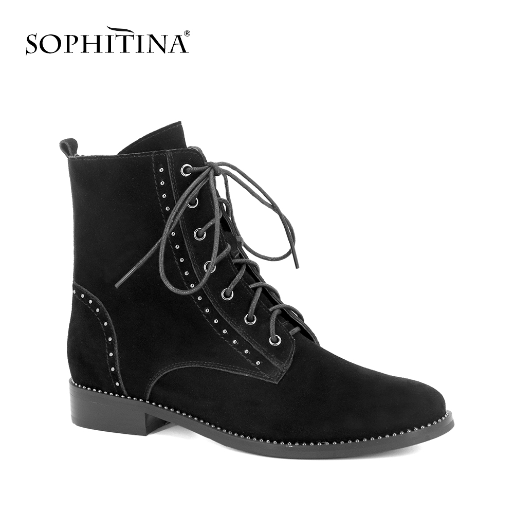 SOPHITINA Ankle Boots Quality Genuine Cow Leather Lace up Lady Shoes Square Low Heel Comfortable Warm Winter Womans Boots M58SOPHITINA Ankle Boots Quality Genuine Cow Leather Lace up Lady Shoes Square Low Heel Comfortable Warm Winter Womans Boots M58