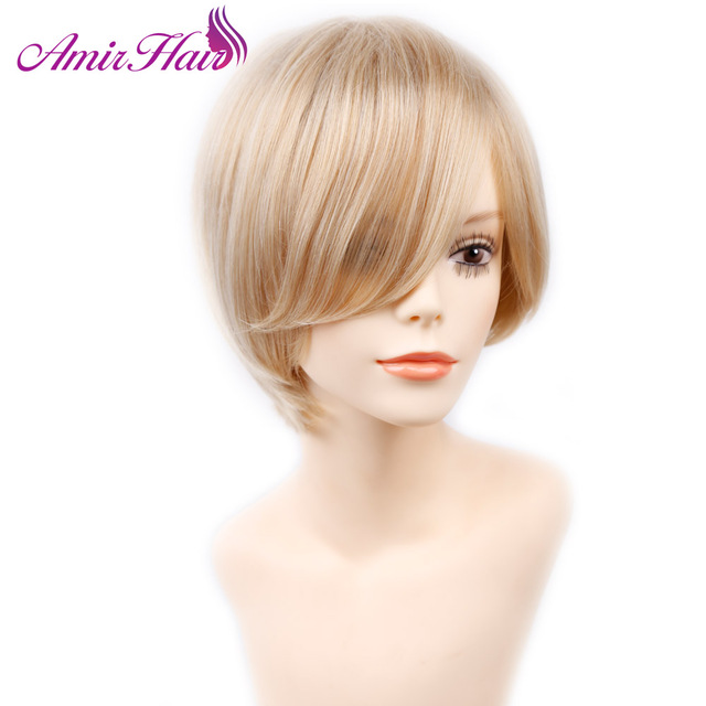 Amir Hair Natural Wave Blonde Short Wig Side Bangs Heat Resistant Brown Hairstyles Wigs For